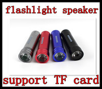 Wholesale Mini Speaker Bike Bicycle Music player LED Flashlight support TF SD card Portable electric torch speaker DHL