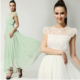 Womens Dresses chiffon lace maxi dress girls plus size long evening party Bohemian beach dress 2colors size S-XL 9208