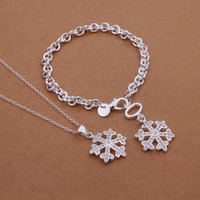 Wholesale Gorgeous Hot sell Crystal Silver Jewelry Set Snowflake pendant Bracelet Necklace S355