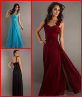 Wholesale Custom Fashion hand flowers Empire Blue Dark Red Black Chiffon Long Ruch Bridesmaid Dresses Party Cocktail Prom Evening Gown Dress