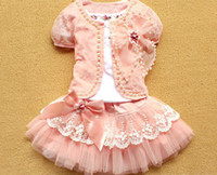 TuTu Summer A-Line 2013 Newest Baby Girl 3 Piece Suits T-shirt+Coat+Skirt Kids Princess Tutu Dress Children Lapel Sets