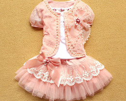 Wholesale Newest Baby Girl Piece Suits T shirt Coat Skirt Kids Princess Tutu Dress Children Lapel Sets
