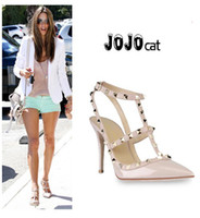Wholesale shoes woman party fashion rivets girls sexy pointed toe high heels shoes buckle platform pumps wedding shoes