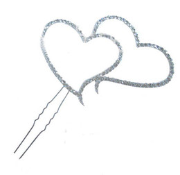 Wholesale New Double Heart Diamante Shapes Wedding Birthday Christening Cake Topper