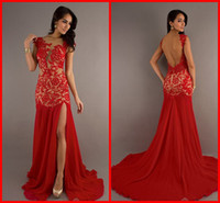 Wholesale Custom Fashion See through Red Nude Lace V neck Mermaid Backless New Cheap Prom Dress Evening Bridesmaid Party Formal Dresses Gown