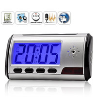 Wholesale Promotion Digital Clock DV Motion Detecting Alarm GB TF Card Memory Table Clock Hidden Spy Camera With Remote Control