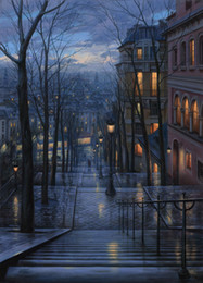 Wholesale USA HD Print Hot selling Oil Painting Abstract Wall Deco Art on canvas Eugeny Lushpin Rendezvous on Rue du Mont Cenis x19inch no frame