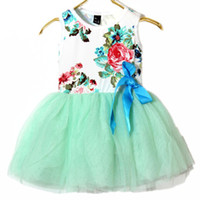 TuTu Summer Pleated 2014 summer new children's clothing flowers ribbon lace roses Skirt Floral girls dress Cute Sweet pink baby kids tutu dresses