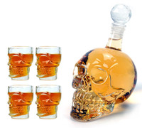 Beer Steins crystal glass - 1pcs ml Crystal Skulls Vodka Bottles Skull Cups Funny Wine Set Creative Winebottle And Cup Valentine s Day Gift Y4010B Y4013B