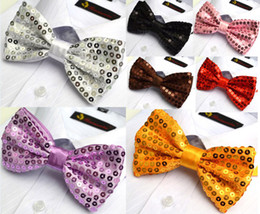 Solid Men Sequined Neck Bowtie BOW TIE Pre-tied Adjustable White Stage Bow Tie Can Choose Color