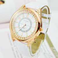 Wholesale Fashion Rose Gold Crystal Dial Leather Belt Quartz Wristwatches For Women dress Wristwatches Gift