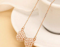 Wholesale sample order new style Small pure and fresh and fashion female clavicle bowknot pearl chain ShanZuan of gold necklace hipsters