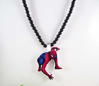 Wholesale Hip hop Necklace Spiderman Wooden Hand drawn GOOD WOOD NYC Beaded Rosary Jewelry Men And Women Gift Factory Cheap Price C0708