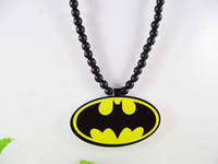 Wholesale Hip hop Necklace Batman Wooden Hand drawn GOOD WOOD NYC Beaded Rosary Jewelry Men And Women Gift Factory Cheap Price C0709