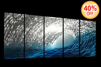 Wholesale Blue Ocean metal wall sculpture painting handmade modern abstract wall decor A00044