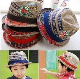 Boy Embroideried label kids fedora hat baby linen top hat with 4 colors children jazz cap baby sun cap 10pcs lot