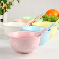 Wholesale Jade ice flower porcelain colorful candy color ceramic tableware bowl rice bowl microwave oven