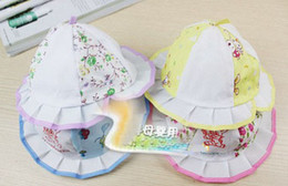 Wholesale 10pcs Cotton Baby Floral Xiaopen small brimmed hat cap hat baby hat baby hat full Fit moon