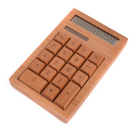 Wholesale DHL Unique Bamboo Solar Powered keys quot LCD Digit Calculator