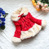 Wholesale Girls winter coat Christmas red coat more thick coat fake fur girls coat New Year kids clothes warm coat baby fashion coat winter warm coat