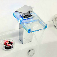 Chrome battery deck - Bright LED3 Color Waterfall Battery Chrome Bathroom Basin Sink Mix Tap Faucet