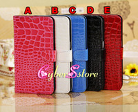 Leather For Samsung  20pcs High Quality Crocodile Wallet Flip PU Leather Case Cover With Credit Card Slots Slot Pouch Stand For Samsung Galaxy Mega 6.3 i9200