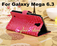 Leather For Samsung  50pcs Luxury Crocodile Wallet Flip PU Leather Case Cover With Credit Card Slots Slot Pouch Stand For Samsung Galaxy Mega 6.3 i9200