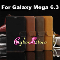 Leather For Samsung  50pcs Luxury Retro vintage Book Style Wallet Flip PU Leather Case Cover With Credit Card Slots Slot Stand For Samsung Galaxy Mega 6.3 i9200