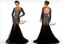 2013 Sexy Black Long Sleeves Tulle Evening Dresses Lace Bead...