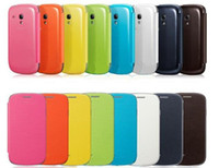 For Samsung Leather  Flip Cover For i8190 SIII Mini ,Back cover flip leather case battery housing case for Samsung Galaxy S3 mini 8190 + Retail Box 20pcs