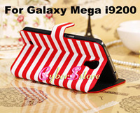 Leather For Samsung  50pcs Luxury Colorful Strip Wallet Flip PU Leather Case Cover With Credit Card Slots Slot Stand For Samsung Galaxy Mega 6.3 i9200