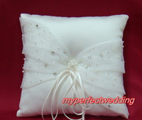 Wholesale High Quality New Delicate Cheap Ivory Crystal Beaded Ring Pillow Fashion Wedding Favor