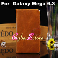 Leather For Samsung  20pcs Luxury Crazy Horse Retro Wallet Flip PU Leather Case Cover With Credit Card Slots Slot Stand For Samsung Galaxy Mega 6.3 i9200