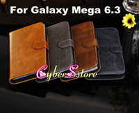 Leather For Samsung  50pcs High Quality Retro Crazy Horse Wallet Flip PU Leather Case Cover With Credit Card Slots Slot Stand For Samsung Galaxy Mega 6.3 i9200