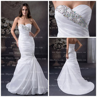 Model Pictures Sweetheart Taffeta 2015 White Mermaid Wedding Dresses Beaded Ruched Sequins Bridal Dress Taffeta Real Model special Wedding Dresses Bridal Dresses AL004