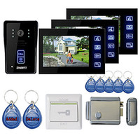 Wholesale New quot Touch Panel Video Door phone System with Monitors RFID keyfobs Electronic Controlling Lock