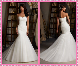 Wholesale 2013 New Arrival Stunning Strapless Sweetheart Discount Mermaid Wedding Dresses White Cheap Simple Wedding Dress Designer Wedding Gowns