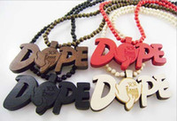 Wholesale WOOD Necklace GOOD NYC Hip Hop Dope PENDANT CHAIN Beaded rosary jewelry Factory Cheap Price C0741