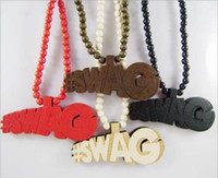 Wholesale WOOD Necklace GOOD NYC Letter PENDANT CHAIN Beaded rosary jewelry Factory Cheap Price C0742