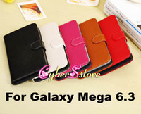 Leather For Samsung  10pcs Top Grade Real Genuine litchi Wallet Flip Leather Case Cover With Credit Card Slots Slot For Samsung Galaxy Mega 6.3 i9200
