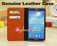 Leather For Samsung  30pcs Top Quality Real Genuine litchi Wallet Flip Leather Case Cover With Credit Card Slots Slot For Samsung Galaxy Mega 6.3 i9200