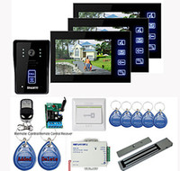 Wholesale New quot Touch Panel Video Door phone System with Monitors RFID keyfobs Magnetic lock Remote Control