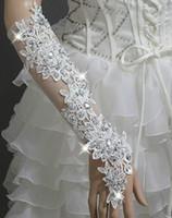Bridal Gloves baked beads - freshly baked Noble gorgeous Wedding gloves twinkle drill sexy long mitten gloves bridal Gloves red white black Dance gloves
