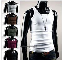Men active basic t shirts - New Sexy Mens Slim Fit Plain Basic Tank Sleeveless T shirt
