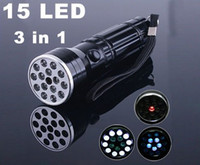 Cheap 15 LED UV LASER Ultraviolet light Lamp Torch Flashlight, Free Shipping, Retail wholesale