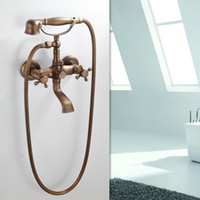 Wholesale Antique Brass Bathroom Basin Sink Mix Tap With Shower Wall Mounted Faucet DH