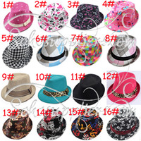 Wholesale Baby Canvas Fedora Hat Baby Jazz Cap Kids Top Hat Baby Fedoras Baby Dicers Children Headgear LM