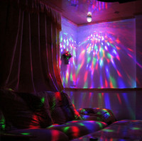 Wholesale High quality Crystal Magic Ball Effect Stage Lights W LED E27 RGB Rotating Lamp For Party Disco DJ Bar