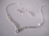 Bridal Ice Crystal Choker Necklace & Earrings Set N0016
