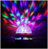 Wholesale New Design Mini Crystal Magic Ball Effect Stage Lights W LED E27 B22 RGB Rotating Lamp For Home Party Disco DJ